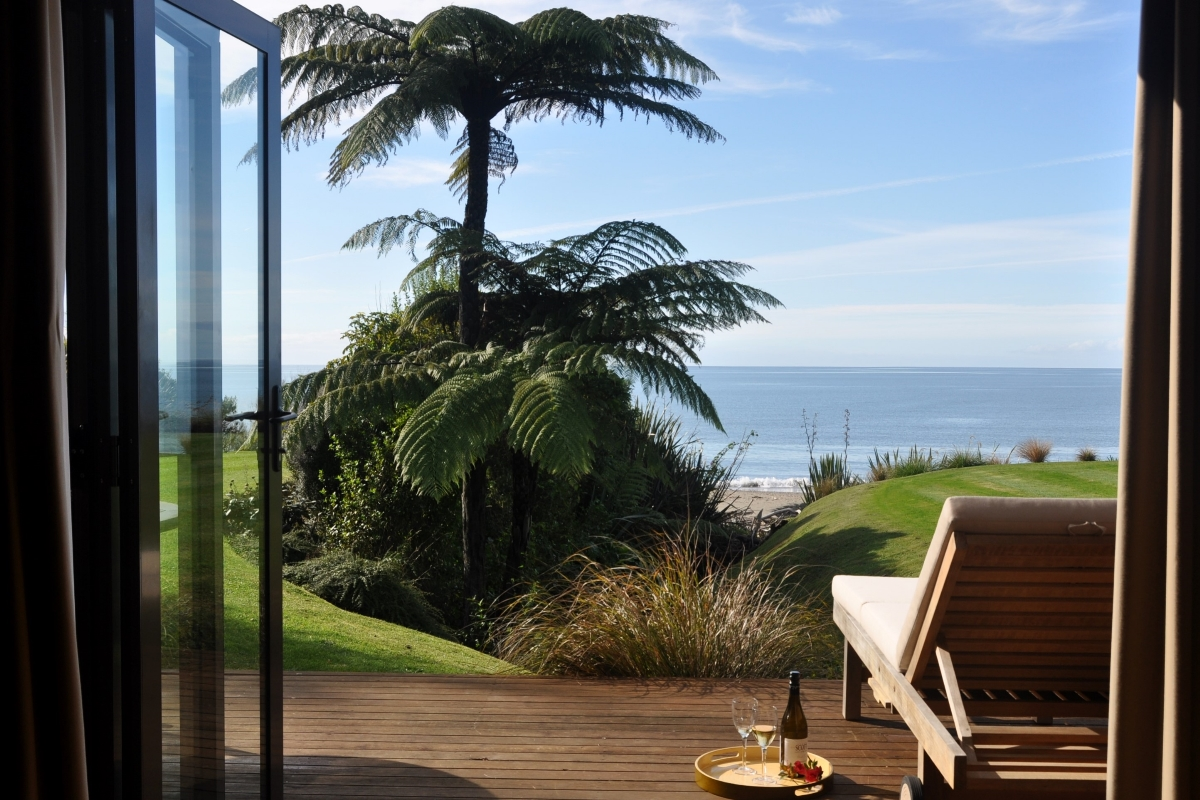 View from the Honeymoon Cottage | Adrift in Golden Bay living area