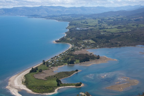 Aerial View of Tukurua Beach, Parapara Beach and Estuary